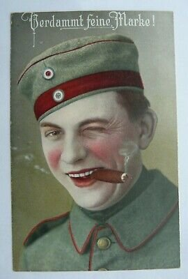 WW1-German-Military-Postcard-Soldier-with-Cigar-Verdammt.jpg